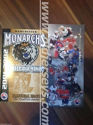 2001-02 AHL Manchester Monarches Team Guide + AHL game schedule (Cary Price)
