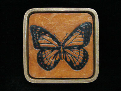 OH13126 VINTAGE 1970s *BUTTERFLY* SILHOUETTE ART LEATHER SOLID BRASS BTS BUCKLE