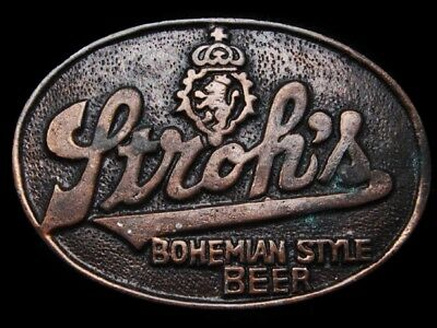 LG01155 VINTAGE 1970s ***STROH'S BOHEMIAN STYLE BEER*** SOLID BRASS BEER BUCKLE