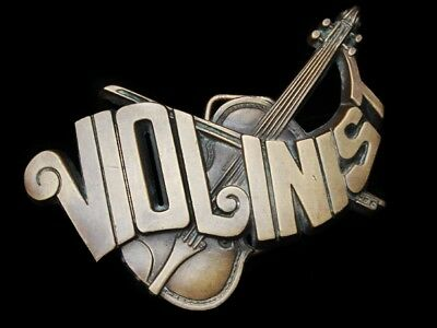 Lg25168 Vintage 1982 Cut-Out *violinist W/ Violin* Solid Brass Music Belt Buckle