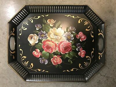 Antique Vintage Metal Toleware Hand-Painted Serving Tray Floral