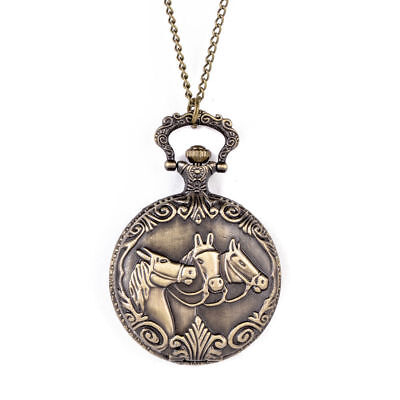 Horses Bronze Steampunk Retro Antique Pocket Watch Quartz Pendant Necklace Gift