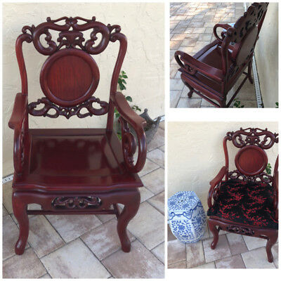Vintage Asian / Chinese Carved Rosewood Chair,pre owned in Very good Condition