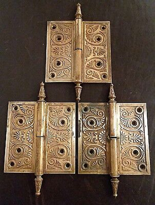 "Antique Brass Victorian Eastlake Ornate Door Hinges 5 ""X 5 "" LEFT Hand Lift Off"