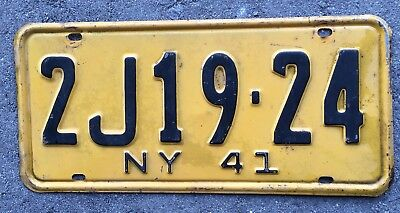 Authentic 1941 New York License Plate USA