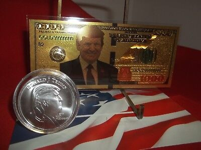 "1 oz .999 Solid Silver Round ""Donald Trump"" & 1 Gold Foil 24K Trump Novelty Bill"
