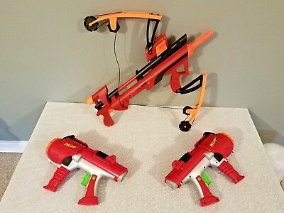 Nerf Elite Guns Cosplay Lot of 3 Big Bad Bow Red Cross, 2 Nerf Dart Tag 10 Shot