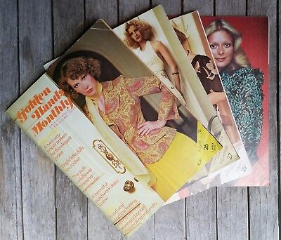 Vintage Retro 4 Golden Hands Monthly Magazine Crochet Knitting Sewing Craft 1974