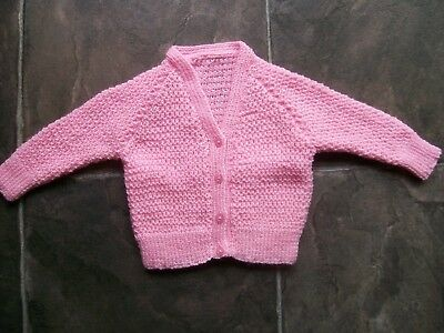 BN Baby Girl's Hand Knitted Pink Cardigan Size 00