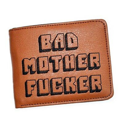 BAD MOTHER WALLET  BMF  Embroidered BROWN Leather Wallet As Seen In PULP FICTION