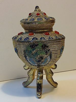 Antique china jug gilded enameled original classic China tea box Agate (m1499)