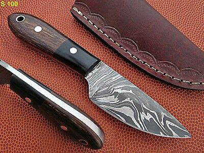 Custom Hand Made Damascus steel Hunting Knife With Fibber Wood Handle.