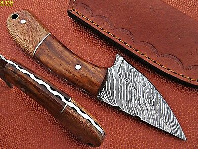 Custom Hand Made Damascus steel Hunting Knife With Rose Wood Handle.