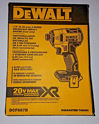New DeWalt DCF887B Brushless Impact Driver 20v Max XR Lithium-Ion 3-Speed Drill