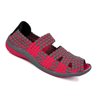 Womens Summer Casual Flat Sandals Fitness Elastic Open Toe Slip On Woven Shoes