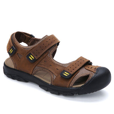 Mens Summer Leather Sandals Casual Breathable Closed Toe Fisherman Flat Shoes