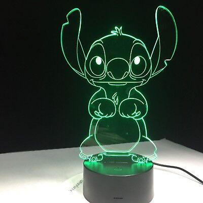 Stitch Cartoon 3D Lamp Bedroom Table Night Light Acrylic Panel USB Cable 7 Color