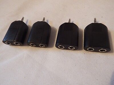 Joblot 4 x 3.5mm Mini Jack Plug to 2 x 6.35mm Sockets Stereo  Splitter Headphone