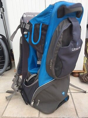 Littlelife Baby Child Carrier Grey Blue Freedom S2 With Sunshade