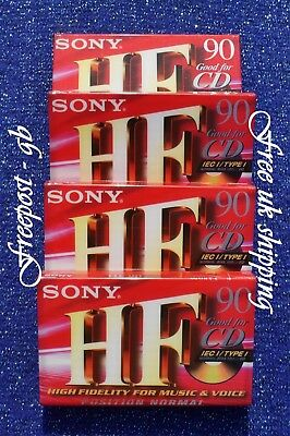 Pack Of 4 High Quality Sony 90 Minute Audio Cassettes. C-90Hfc. Normal Position