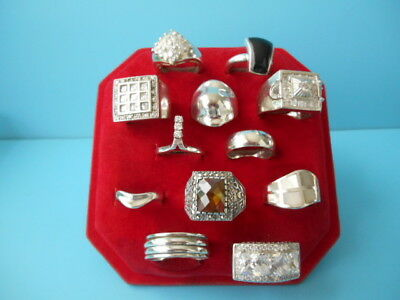 JOB LOT 12 SOLID SILVER MODERN & VINTAGE RINGS JEWELLERY NOT SCRAP 103.5grm