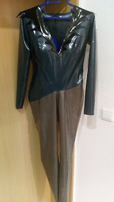LOOK! 100% Luxus Latex Catsuit ♀ metallic peacock gold black gothic unikat? HOT