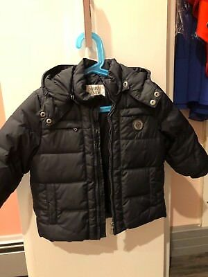 Armani kids dark blue down jacket pre owned with hood perfect condition