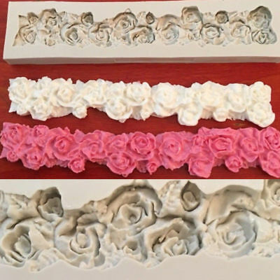 Rose Flower Border Silicone Fondant Cake Decor Sugarcraft Chocolate Baking Mould