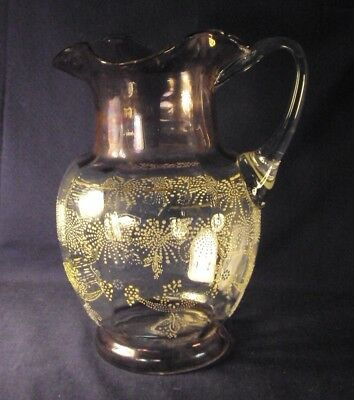 Antique blown glass water pitcher purple stain enameled bohemian