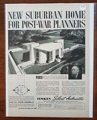 1943 Suburban Homes House Design Mid Century Architecture 1940s Vintage Print Ad