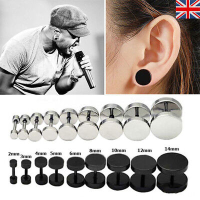 1 Pair 316l Stainless Steel Fake Cheater Ear Plug Earrings Stud Stretcher