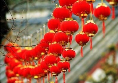 Small Red Chinese Mini Lanterns 30 Pieces Pack Festival Wedding 15CM Decorations