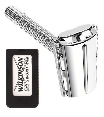 Stainless Steel Butterfly DE Shaving Safety Razor with Wilkinson 5 Blades Pack