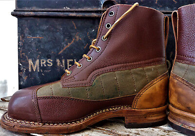 Vintage canvas and leather field boots Bushcraft size 42  Steampunk Goodwood