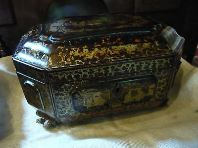Large 19th Century Chinese Lacquer Tea Caddy