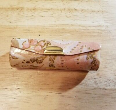Womens Lipstick Holder with Mirror New Pink Floral Snap Closure