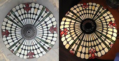 Tiffany Style Stained Glass Large Lamp Shade, Nice colors in sunlight & when lit