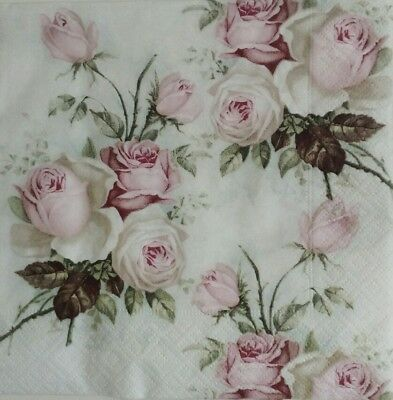 2x Paper Napkins for Decoupage Craft Vintage Bouquet of Roses.Servilletas rosas