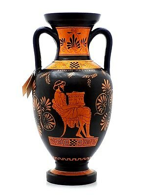Ancient Greek Vase Red Figure Pottery Amphora Teacher of Music & Athena 12.6 in