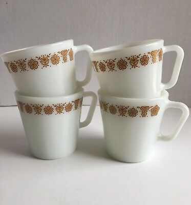 Pyrex Vintage Butterfly Gold Mugs Milk Glass D Handle Set Of 4 Retro