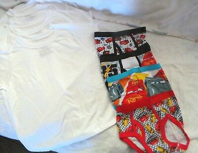 NWOT Size 4 Boys Toddler Lot Disney Cars Underwear Briefs and 3 Hanes T-Shirts