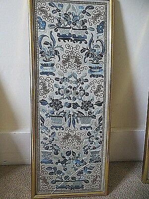 Antique Chinese 19th century textile embroidered pair silk sleeve panels, framed