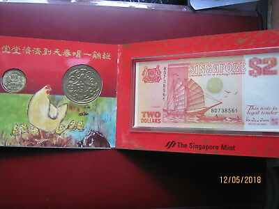 Singapore Mint 1989 1993 Year of Rooster Medal $1 Coin & $2 Dollar Banknote Set