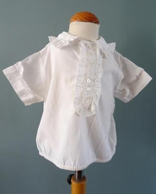 Vintage 1950's Child's Blouse Shirt with Frill Collar - Cream Cotton