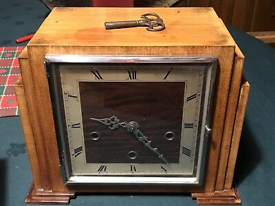 Maple Art Deco Mantle Clock- Westminster Chiming