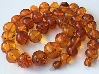 Natural Antique Baltic Vintage Amber OLD BUTTERSCOTCH YOLK BEADS Necklace