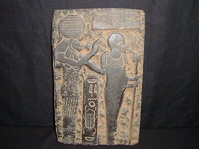 Rare Antique Ancient Egyptian Ptah & Sekhmet Plaque Stela Relief 1403-1365 BC