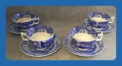 Spode Blue Italian 4X Tea Cup and Saucer 1ST QUALITY MINT CONDITION