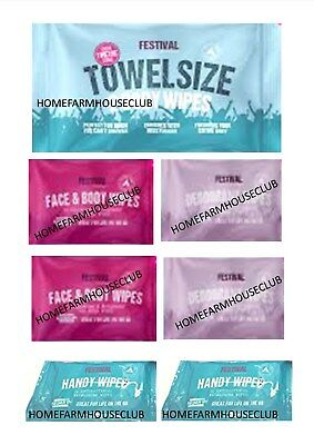 FESTIVAL CAMPING WIPES Towel Size Face & Body Deodorant Antibacterial Hand Wipes