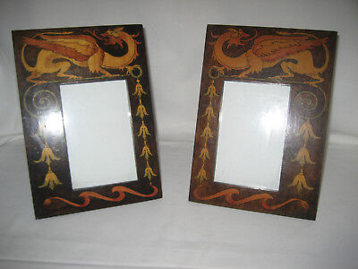 A Beautiful Pair of Vintage Arts and Crafts Hand Decorated Picture Frames.